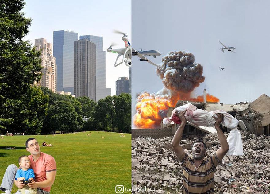 Не злитесь, я всего лишь показываю разницу между двумя мирами, в которых мы сейчас живем Сильнее любого репортажа.